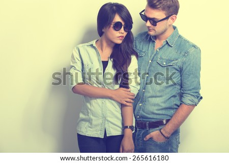 A portrait of chic Young Multiculture Couple - stock photo