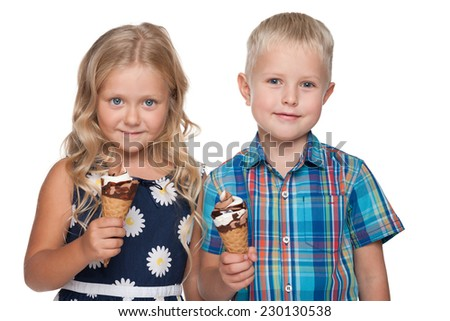A portrait of children with ice cream on the white background - stock photo
