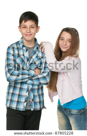 A portrait of fashion kids; isolated on the white background - stock photo