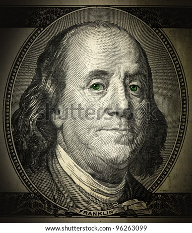 a portrait of Franklin in the grunge style close-up, with green eyes