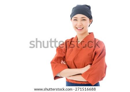 a portrait of japanese style waitress isolated on white background - stock photo