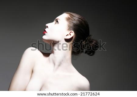a portrait of make up lady - stock photo