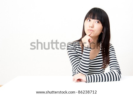 a portrait of pretty asian woman thinking isolated on white background