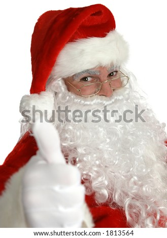 A portrait of Santa Claus giving a thumbs up sign.