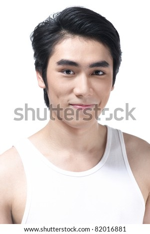 A portrait of smart man with cleaning face - stock photo