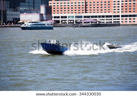 A portrait of the city New York places and famous places. The boat - stock photo