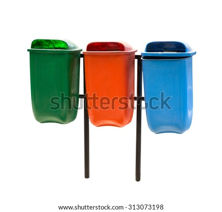 A portrait of three trash bin in different colors isolated over white background - stock photo