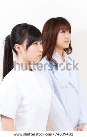 a portrait of two asian doctors looking
