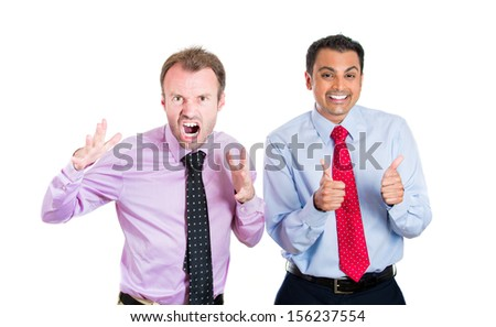 A portrait of two co-workers, businessmen, corporate or government employees, one being very negative and angry, the second one positive and optimistic, isolated on a white background . World polarity - stock photo