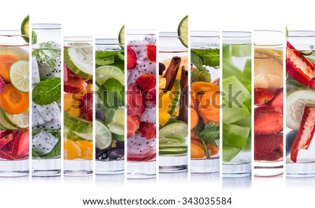 A portrait of various refreshing infused water from tropical fruit - stock photo