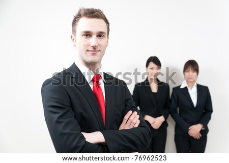 a portrait of young business people - stock photo