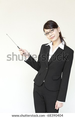 a portrait of young business woman and blank white space