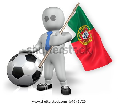 A Portugal football fan with a ball and a flag - stock photo