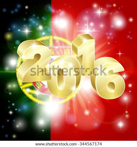 A Portuguese flag with 2016 coming out of it with fireworks. Concept for New Year or anything exciting happening in Portugal in the year 2016. - stock photo