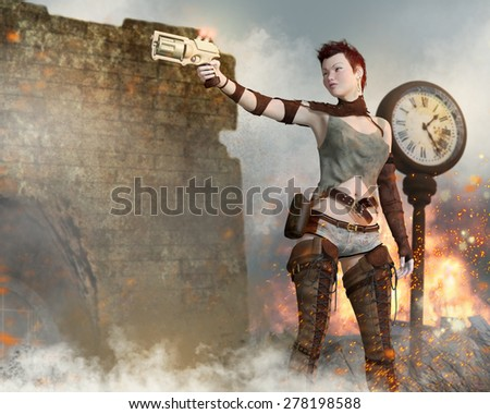 A post apocalyptic woman holding a gun among ruins and explosions. - stock photo