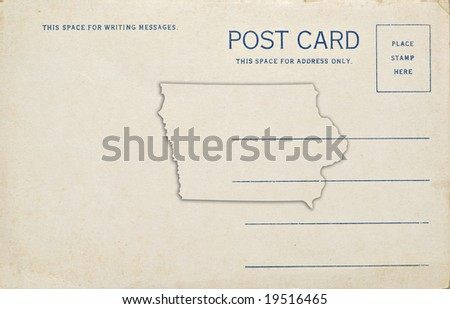 A postcard of Iowa with the state outline. Dirt and scratches at 100%.