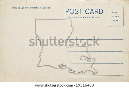 A postcard with a Louisiana map outline. Dirt and scratches at 100%.