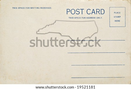 A postcard with a North Carolina map outline. Dirt and scratches at 100%.