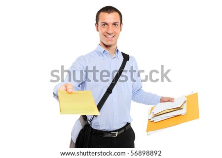 A postman delivering mail isolated on white background - stock photo
