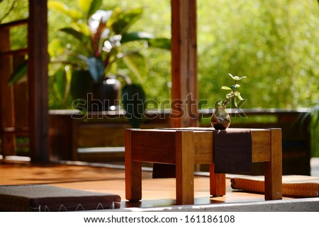 a potted plant on the tea table in a japanese tea house