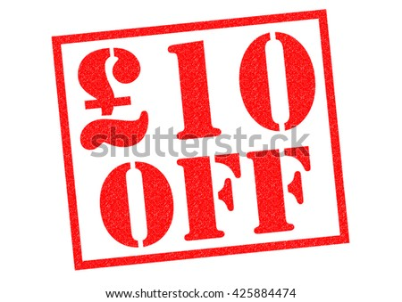 A 10 pounds OFF red Rubber Stamp over a white background. - stock photo
