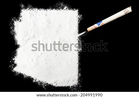 A powder drug like cocaine in the shape of Arizona with a rolled money bill.(series) - stock photo