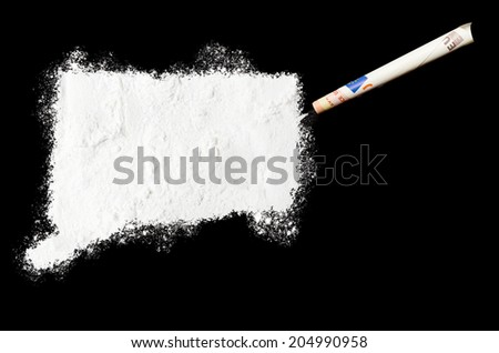 A powder drug like cocaine in the shape of Connecticut with a rolled money bill.(series) - stock photo