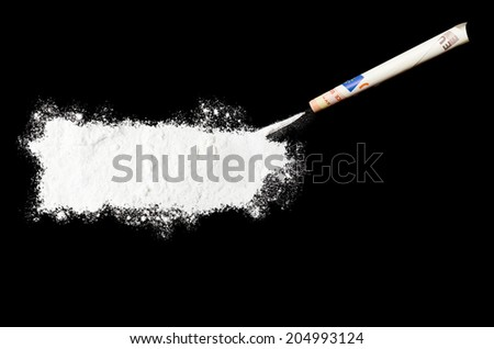 A powder drug like cocaine in the shape of Puerto Rico with a rolled money bill.(series) - stock photo
