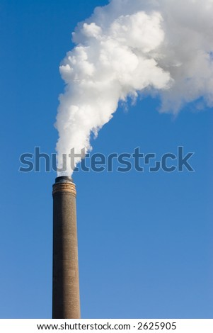 A power station chimney spewing out pollution