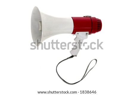 A powerful portable public address megaphone or bullhorn.