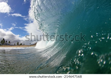 a powerful wave breaks along the shore.