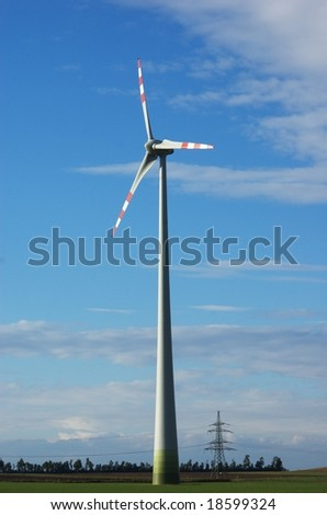 A powerful windmill generating clean renewable energy