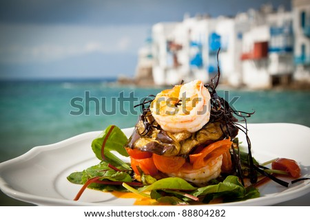 A prawn starter at a seaside restaurant in Greece. - stock photo