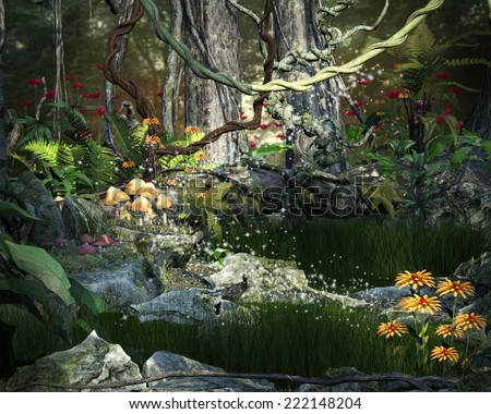 A pre-made background of an enchanted forest with grassy meadow, flowers and mushrooms with some magic effects. - stock photo