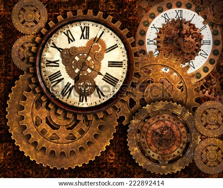 A pre-made background of rusty gears and clocks all showing a different time. - stock photo