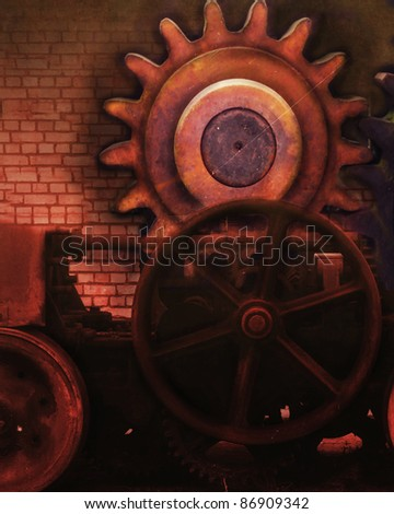 A pre-made background with gears and steam-punk style and coloring.