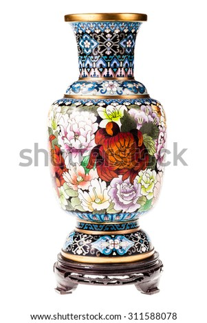 a precious chinese vase isolated over a white background