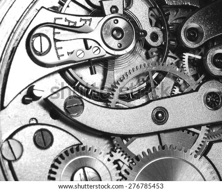 A precise clockwork. Image in black and white.