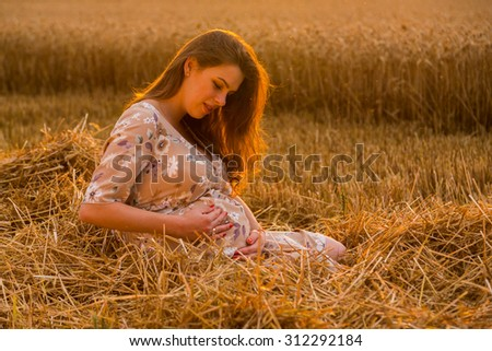 A pregnant woman in a wheat field. A woman posing sitting on a freshly mown straw. The joy of waiting children. Love and sincere feelings.