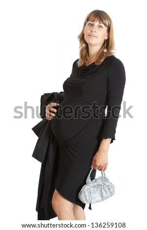 A pregnant woman, 9 months, holding her tummy. Isolated on white - stock photo