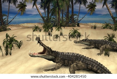 A prehistoric scene with two kaprosuchus -  prehistoric relatives of crocodiles - 3d render with digital painting. - stock photo