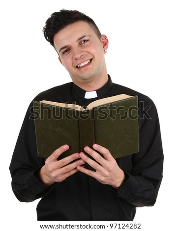 A preist with a book - stock photo