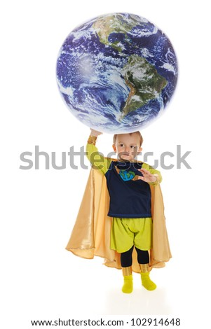 """A preschool superhero, """"Planet Man,"""" holds up the world with his hand.  Elements of this image furnished by NASA.   On a white background. - stock photo"""