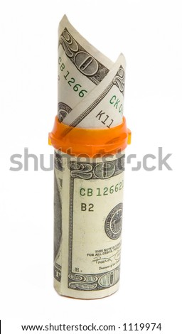 A prescription bottle wrapped in a $20 bill with two $20 bills sticking out of it isolated against a white background.