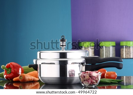 A pressure cooker in a kitchen ambiance - stock photo