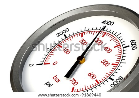 A Pressure Gauge Reading a Pressure of 4000 PSI - stock photo