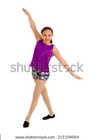 A Preteen Native American Jazz Dancer Girl - stock photo