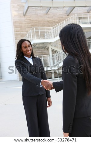 A pretty african american business woman shaking hands