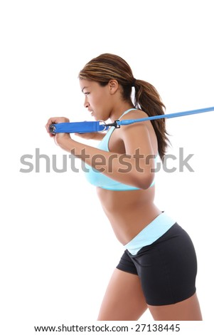 A pretty african american woman exercising isolated over white - stock photo