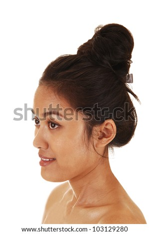A pretty and skinny Asian woman with her long hair up and free shoulder in profile for white background.